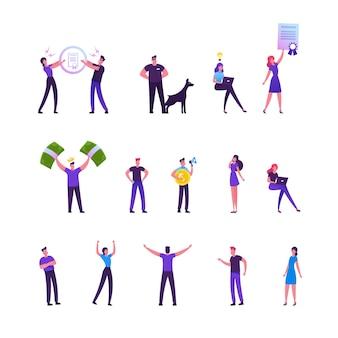 Ensemble de travailleurs hommes et femmes effectuant des activités quotidiennes