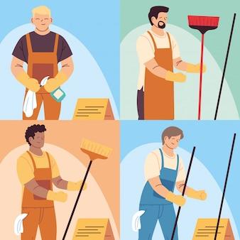 Ensemble de travailleurs de nettoyage, personnel de nettoyage professionnel, personnel de ménage et équipement de nettoyage