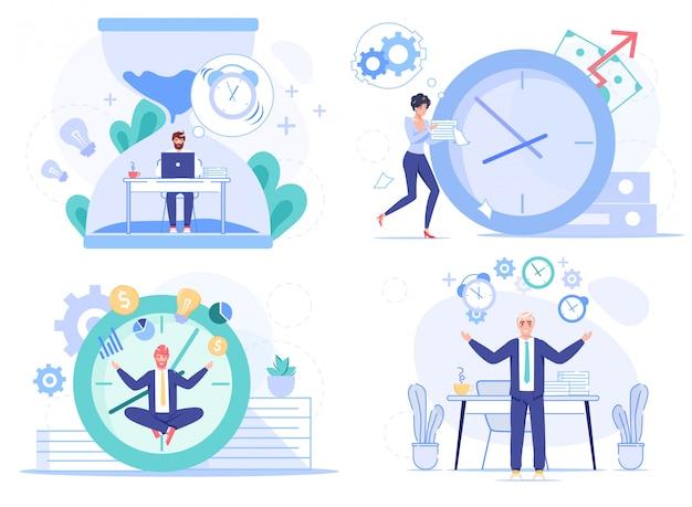 Ensemble de travailleurs de personnes de bureau de procrastination de date limite