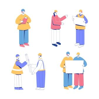 Ensemble de travailleurs avec des plans et des cahiers
