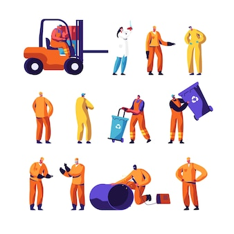 Ensemble de travailleurs d'usine de recyclage des déchets et de métallurgie.