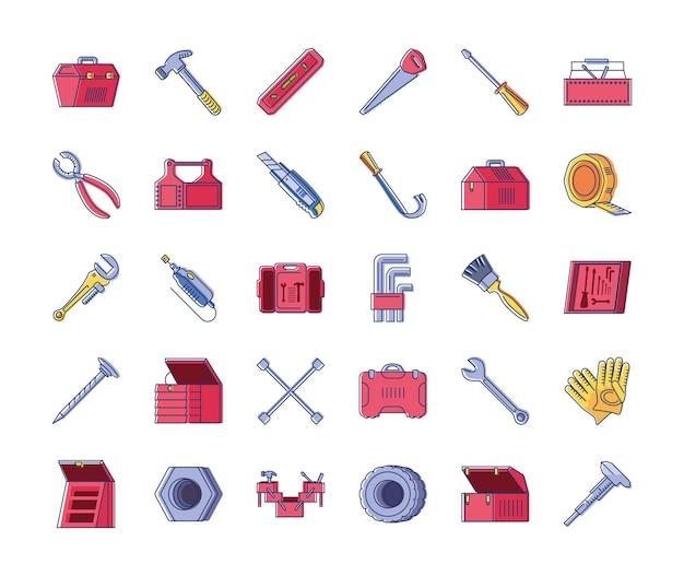 Ensemble de travaux de réparation de construction d'outils