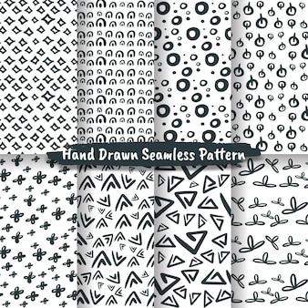 Ensemble de trendy hand drawn seamless pattern, motif abstrait dessiné à la main