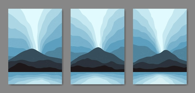 Ensemble De Trois Affiches Boho Contemporaines De Paysage Moderne De Paysage Moderne De Milieu De Siècle Esthétique Abstraite Vecteur Premium