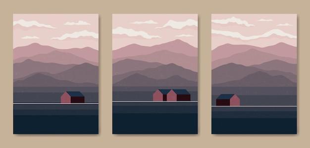 Ensemble de trois affiches boho contemporaines de paysage moderne de paysage moderne de milieu de siècle esthétique abstraite