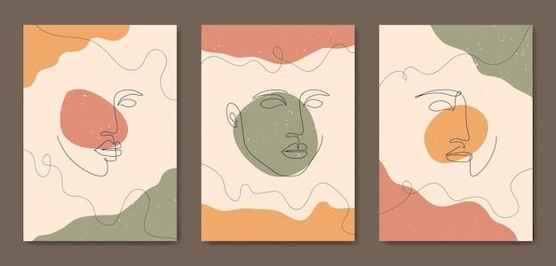 Ensemble de trois affiches boho contemporaines de visage d'art de ligne moderne de milieu de siècle esthétique abstraite