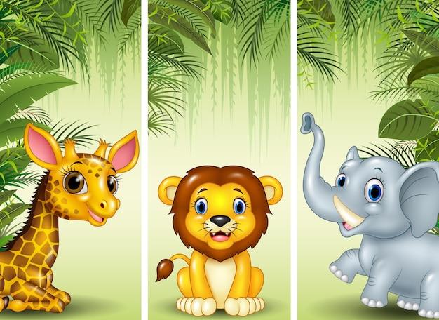 Ensemble de trois animaux africains
