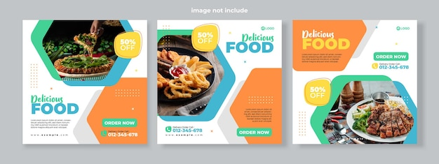 Ensemble de trois arrière-plans hexagonaux géométriques de bannière de promotion de menu de nourriture délicieuse modèle de pack de médias sociaux vecteur premium