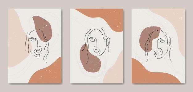 Ensemble de trois art de la ligne moderne esthétique du milieu du siècle abstrait visage modèle de couverture d'affiche boho contemporain.