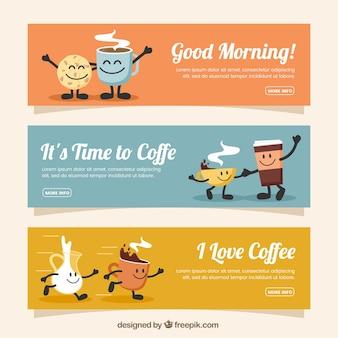 Ensemble de trois bannières de café avec des personnages souriants