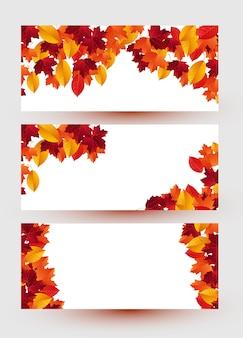Ensemble de trois bannières avec des feuilles d'automne colorés