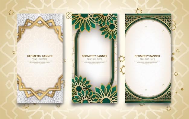 Ensemble de trois bannières géométriques sur le thème islamique et arabe