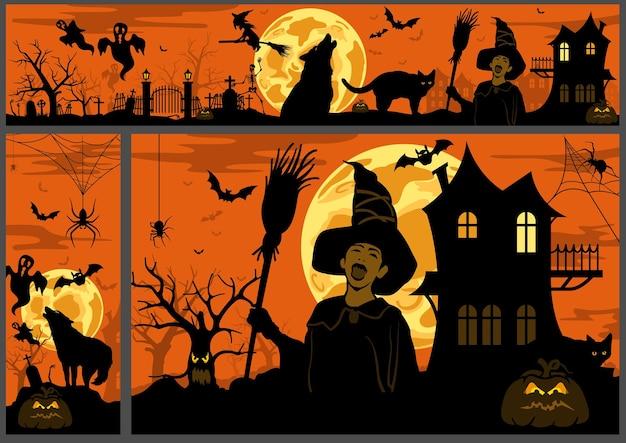 Ensemble de trois bannières d'halloween dans des tons orange avec des dessins noirs effrayants
