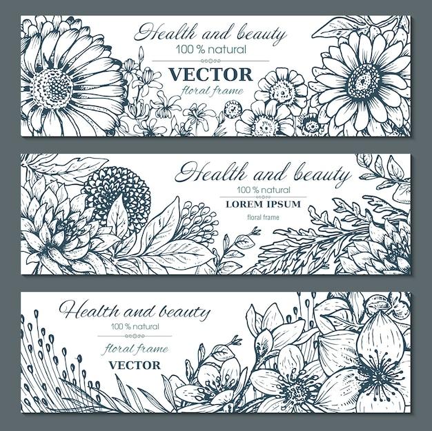 Ensemble de trois bannières horizontales avec de belles fleurs et plantes
