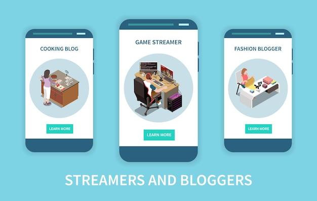 Ensemble de trois bannières isométriques verticales avec mode de cuisson et vidéo de streaming de blogueur de jeu isolée