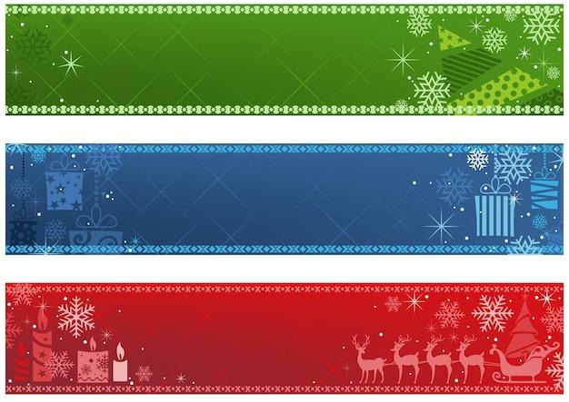 Ensemble de trois bannières de noël en trois couleurs