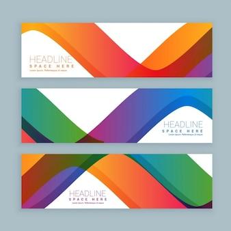 Ensemble de trois bannières d'ondes colorées bannières de modèle