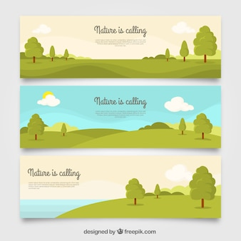 Ensemble de trois bannières de paysage avec des arbres