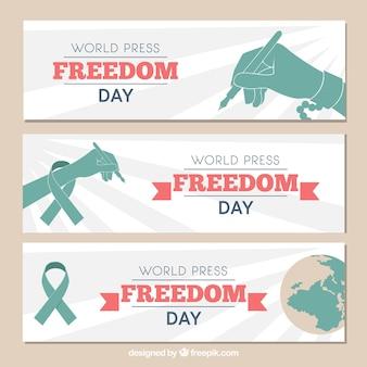 Ensemble de trois bannières pour la journée mondiale de la liberté de la presse