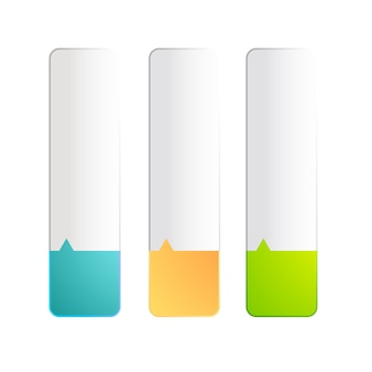 Ensemble de trois bannières réalistes colorées de même taille plongées sur deux couleurs
