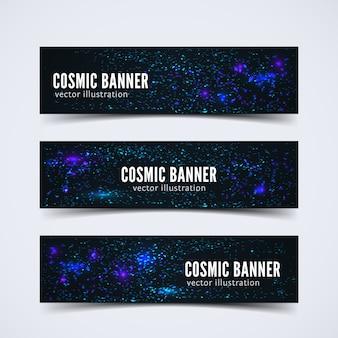 Ensemble de trois bannières sertie de scènes cosmiques abstraites
