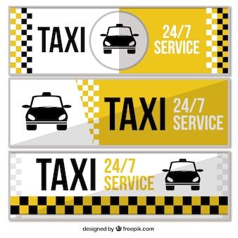 Ensemble de trois bannières de service de taxi
