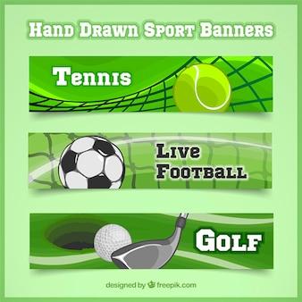 Ensemble de trois bannières sportives