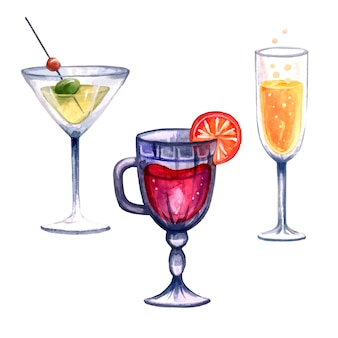 Ensemble de trois boissons illustration vin chaud champagne martini aquarelle dessinée à la main