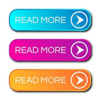 Ensemble de trois boutons dégradés modernes avec des ombres. lire la suite boutons. illustration vectorielle