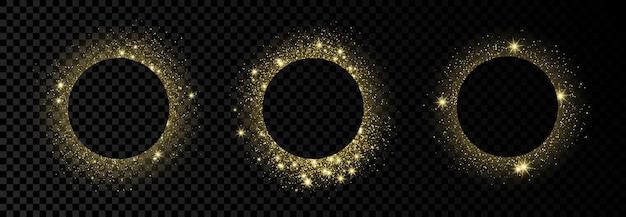 Ensemble de trois cadres de cercle doré avec des paillettes, des étincelles et des fusées éclairantes sur fond transparent foncé. toile de fond de luxe vide. illustration vectorielle.
