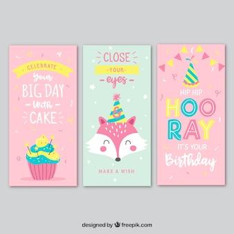 Ensemble de trois cartes d'anniversaire en rose et turquoise