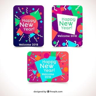 Ensemble de trois cartes brillantes de nouvel an