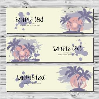 Ensemble de trois cartes horizontales avec palmiers, soleil et mouettes.