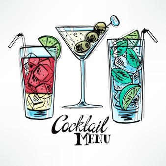 Ensemble de trois cocktails de croquis différents. illustration dessinée à la main