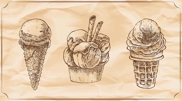 Ensemble de trois délicieuses glaces rétro au chocolat.