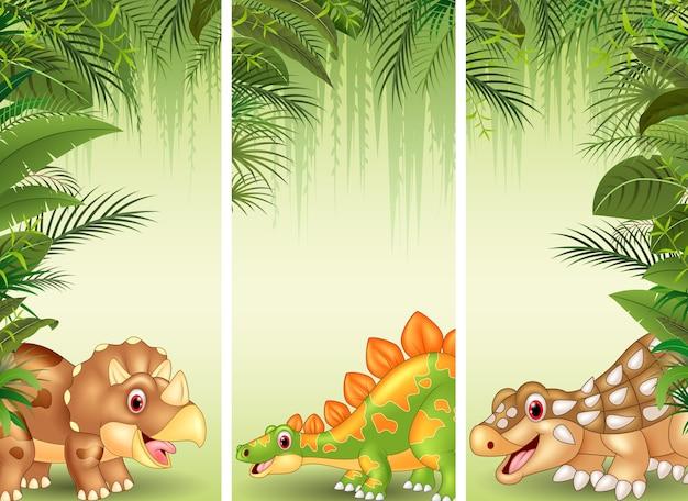 Ensemble de trois dinosaures