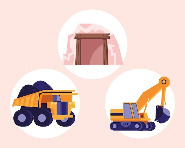 Ensemble de trois éléments de l'industrie minière