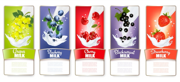 Ensemble de trois étiquettes de fruits dans des éclaboussures de lait. fraise, myrtille, goyave, framboise, mûre, raisin. .