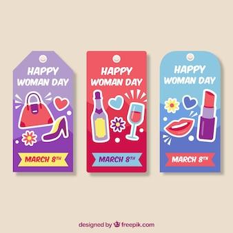 Ensemble de trois étiquettes pour la journée des femmes