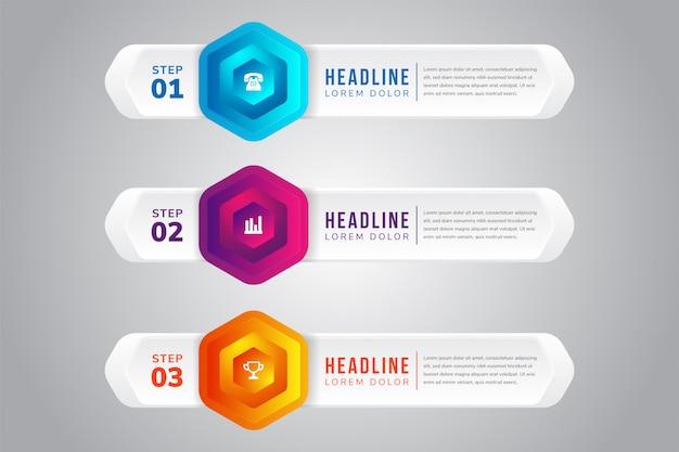 Ensemble de trois illustration de dégradé. modèle d'infographie avec dessins d'éléments hexagonaux. chronologie étape par étape. les couleurs sont bleu, pin et orange.