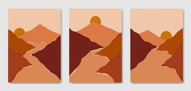 Ensemble de trois modèle d'affiche boho contemporain paysage moderne esthétique abstrait du milieu du siècle