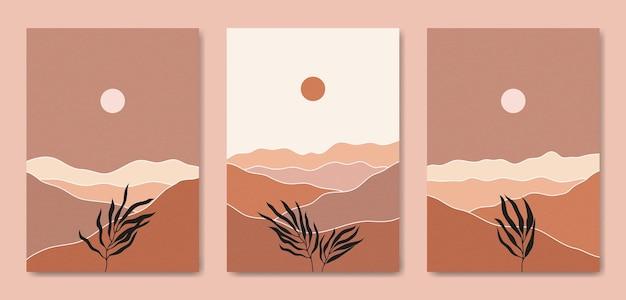 Ensemble De Trois Modèle D'affiche Boho Contemporain Paysage Moderne Esthétique Abstrait Du Milieu Du Siècle Vecteur Premium