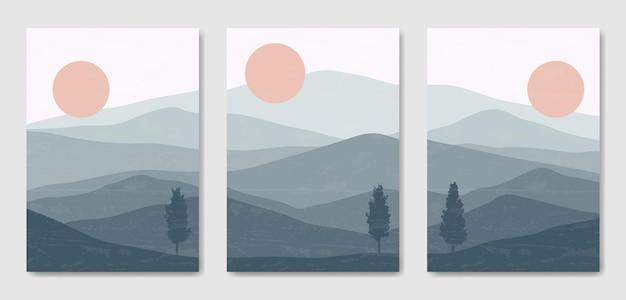 Ensemble de trois modèle d'affiche boho contemporain paysage moderne esthétique du milieu du siècle