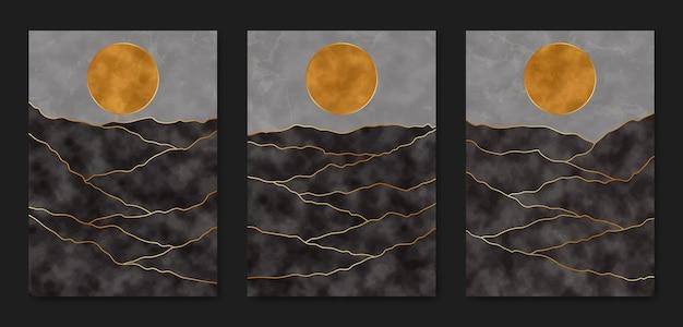 Ensemble de trois modèle de couverture d'affiche boho contemporain paysage moderne esthétique abstrait du milieu du siècle.