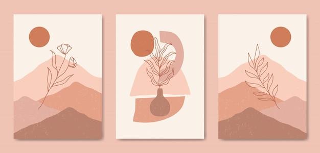 Ensemble de trois modèle de couverture d'affiche boho contemporain paysage moderne esthétique du milieu du siècle