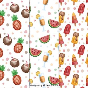Ensemble de trois modèles d'été avec des fruits à l'aquarelle et des glaces