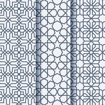 Ensemble de trois motifs géométriques d'ornement arabe