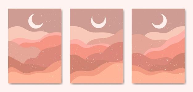 Ensemble de trois paysage coloré moderne du milieu du siècle esthétique abstraite