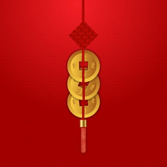 Ensemble de trois pièces chanceux du nouvel an chinois.