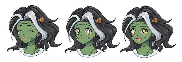 Ensemble de trois portraits de fille zombie anime mignon. différentes expressions. dessinés à la main de style anime